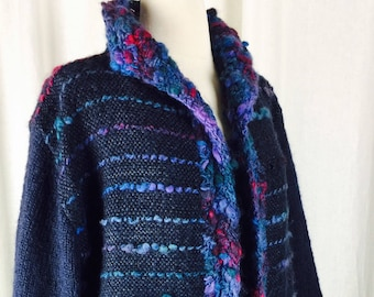 Vintage 80's handknit handloomed navy wool open cardigan