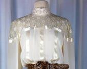 Vintage 70 39 s 80 39 s boho semi sheer cameo victorian throwback disco era see thru lace shoulder dress