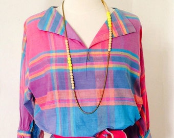bd949fedeb8f Vintage 80 s Indian rainbow madras plaid Lanz of Salzberg belted lady day  dress
