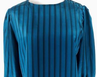 Vintage 80's teal black silk striped boxy shape top
