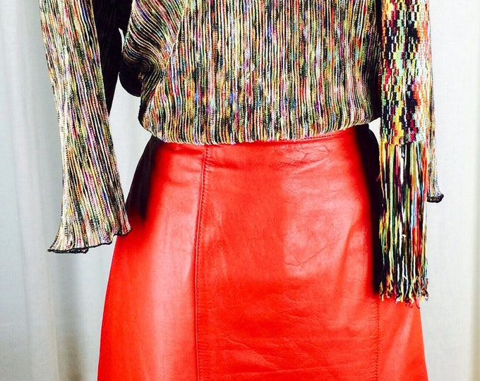 3821aeb7c6 Vintage 80's bright red leather skirt