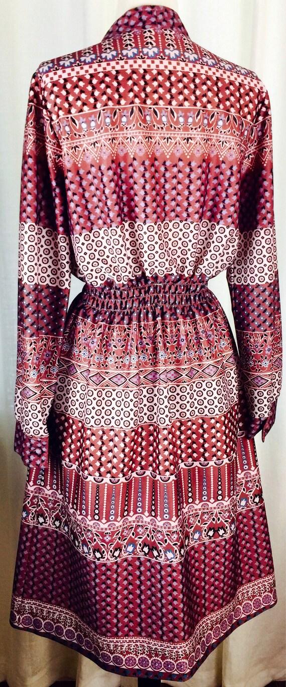 Vintage 70's paisley floral pattern button up bel… - image 8