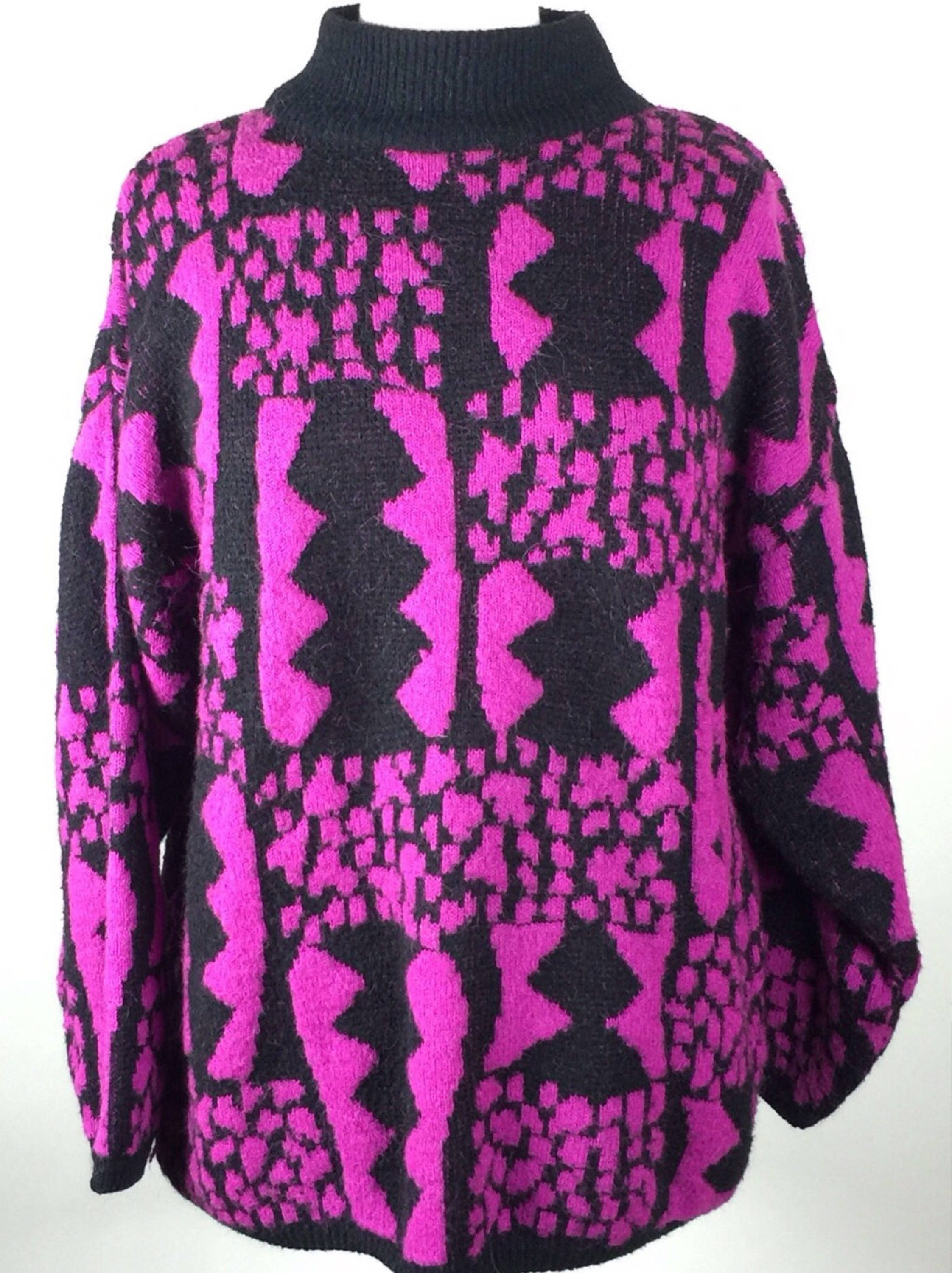 f7447dc9baa Vintage 90's designer abstract graphic pink black mock neck collar ...