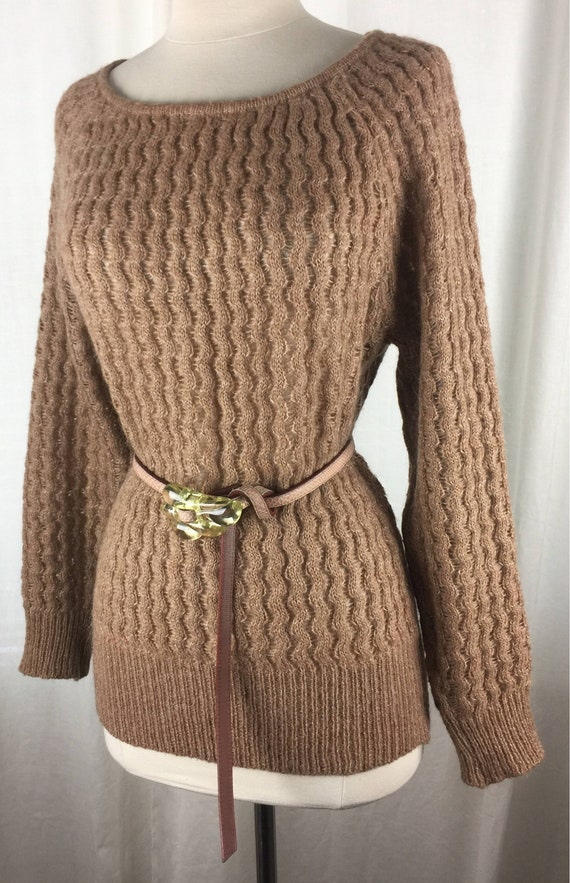 Vintage 80's camel colored mohair blend open knit