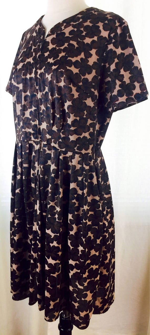 Vintage 50's 60's abstract floral print day dress