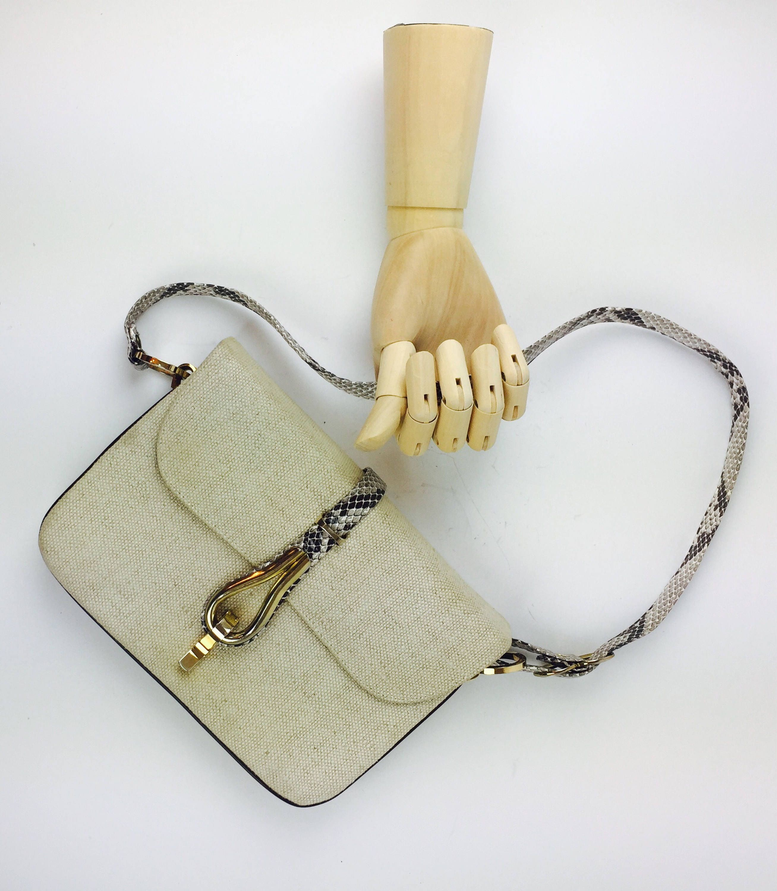 d33776d2fc Vintage 80 s modern khaki woven fabric snakeskin leather gold hardware  handbag. 1