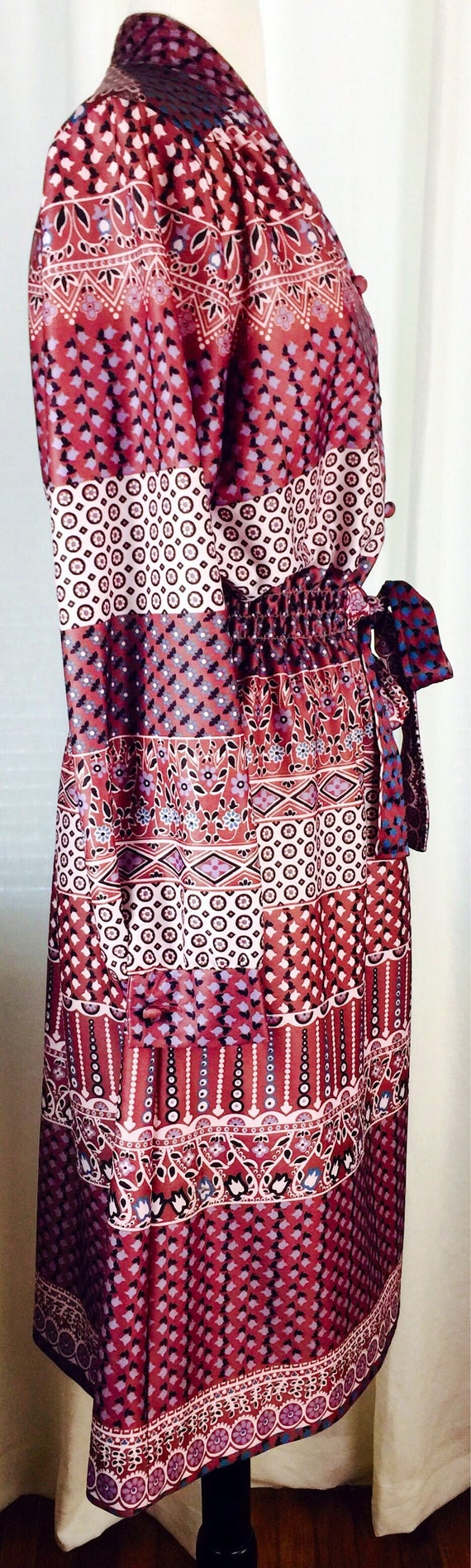 Vintage 70's paisley floral pattern button up bel… - image 7