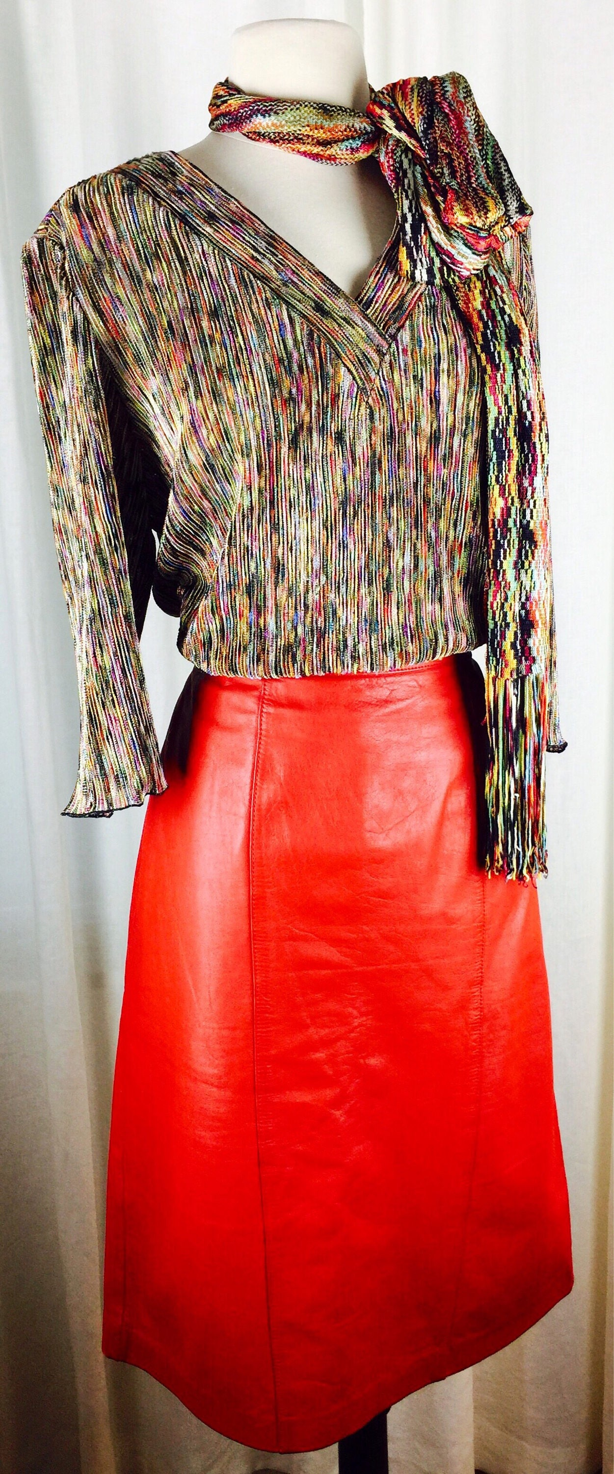 137ffe603c Vintage 80's bright red leather skirt. 1