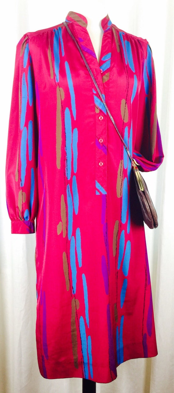Vintage 70's bright raspberry silky poly blend abs