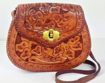 Vintage 70's hand tooled whip stitched leather handbag
