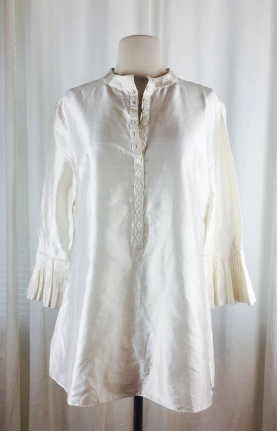Vintage 90's romantic ivory  tunic blouse with ro… - image 7
