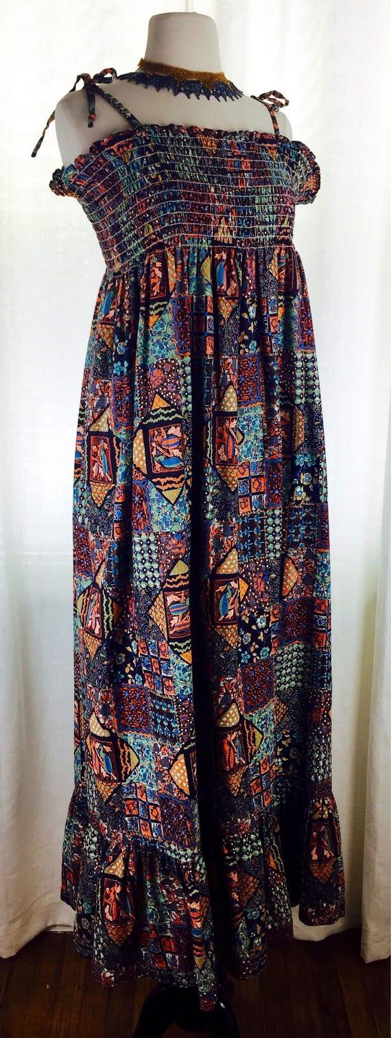 Vintage 70's batik collage printed cotton smocking