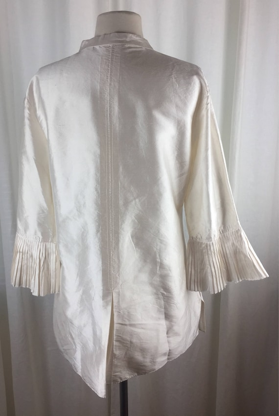 Vintage 90's romantic ivory  tunic blouse with ro… - image 4