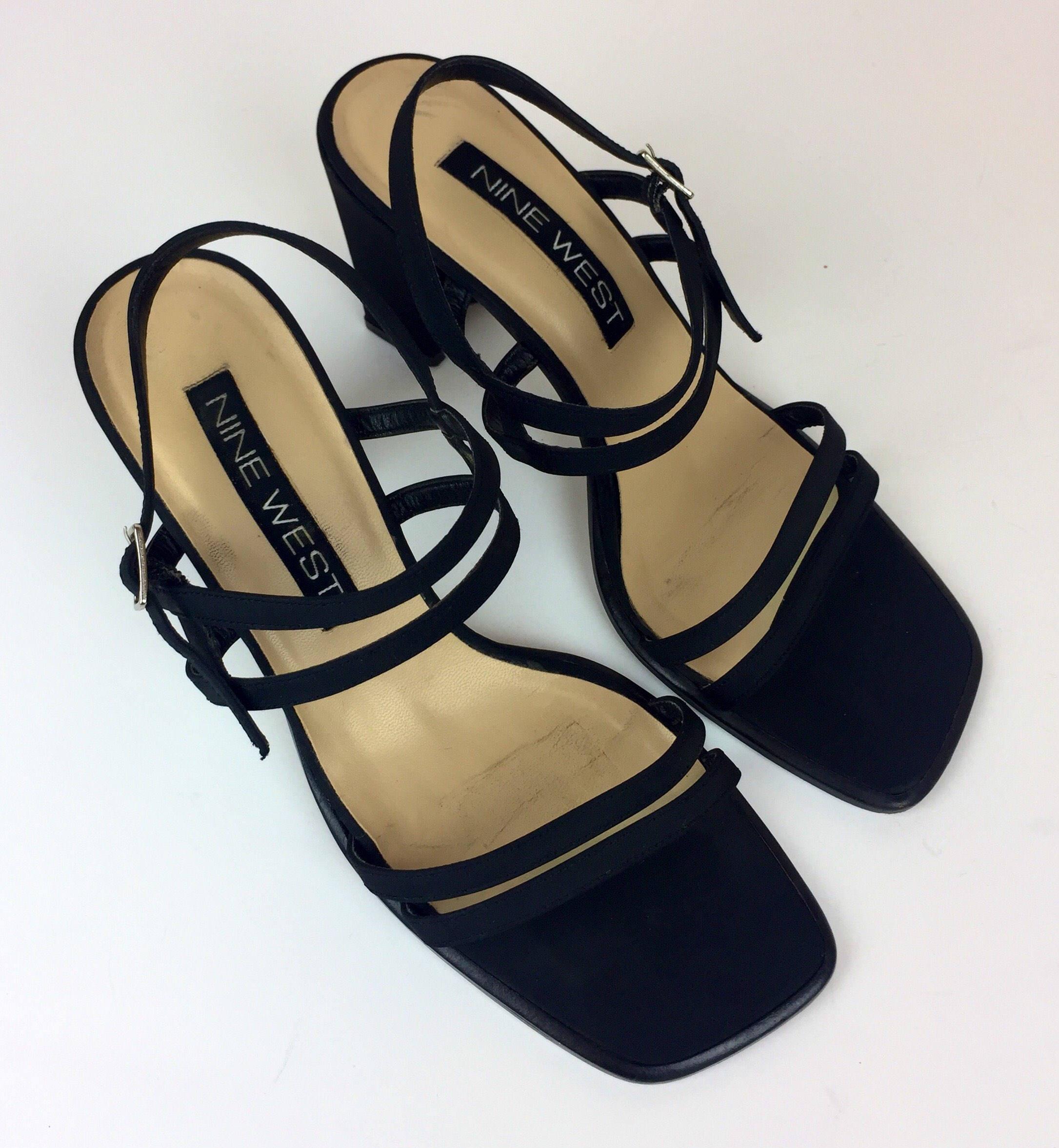 376cf45470c Vintage 90 s matte black satin strappy heeled square toe chunky heel sandals