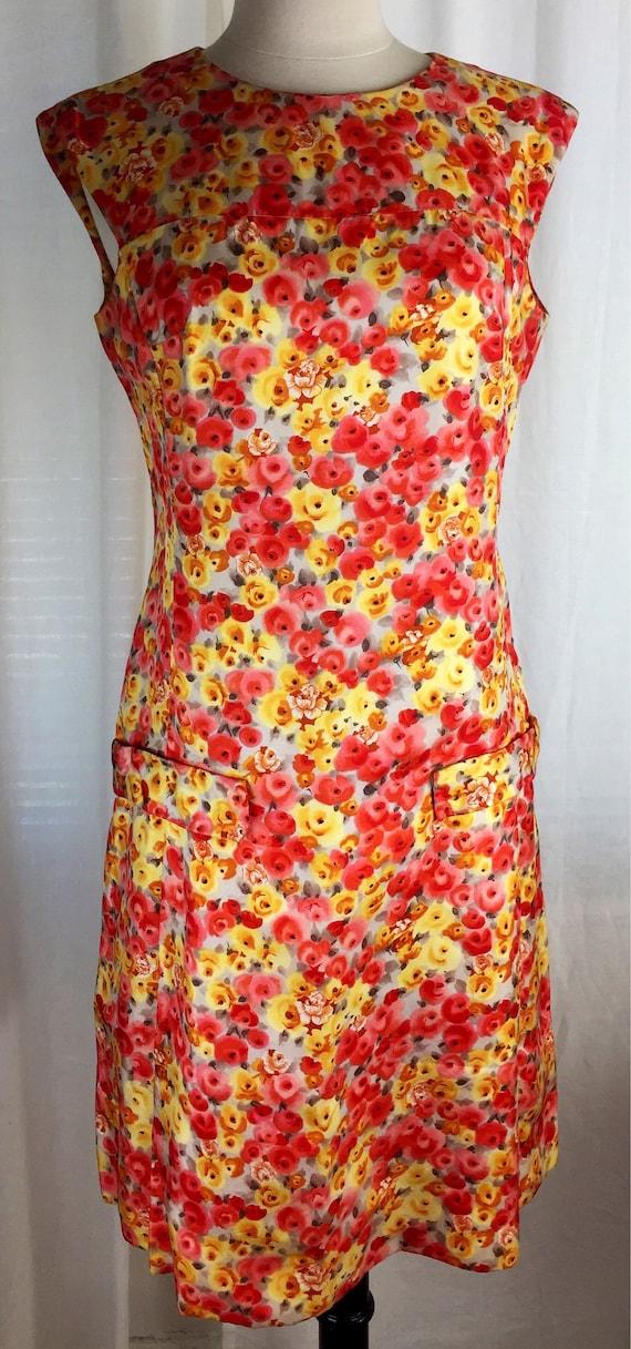 Vintage 60's bright mod rose floral print day dres