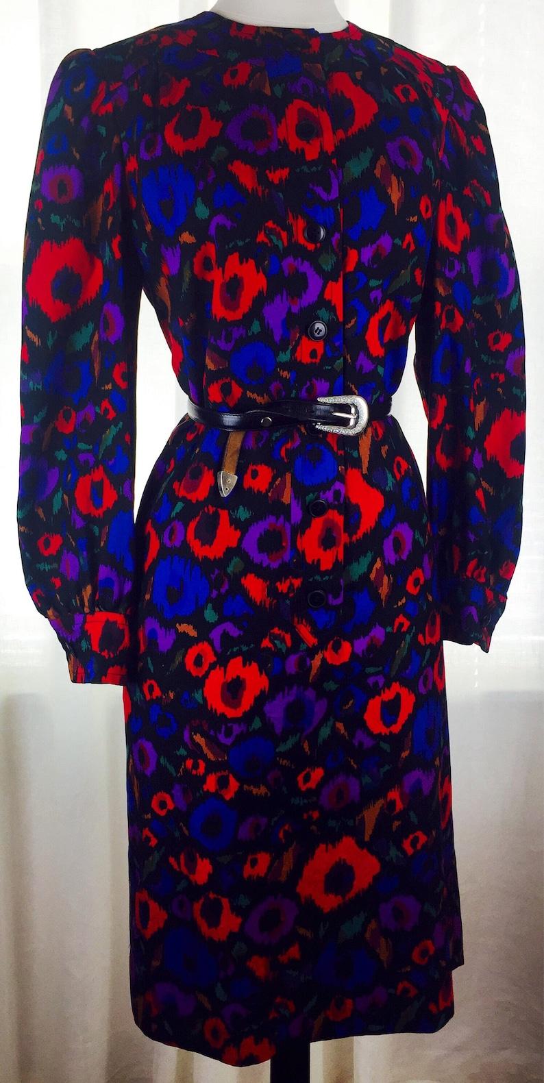 8bbd6b21bdf Vintage 80 s rainbow animal print button down dress