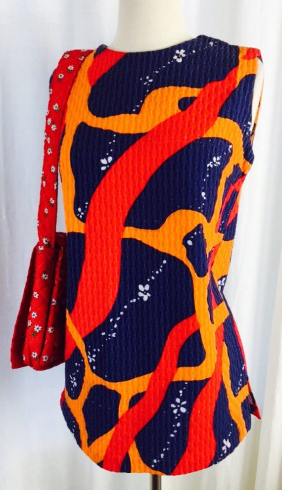 Vintage 60's bright colored relief quilted abstrac