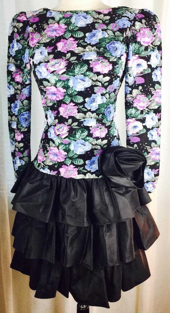 Vintage 80's floral taffeta tiered skirt dress