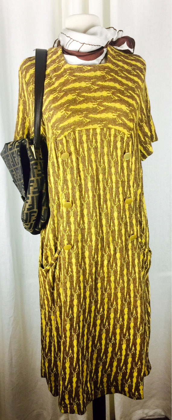 Vintage 60's abstract zebra woven fabric print dre