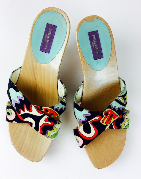 Vintage 90's Pucci psychedelic carved wood heel m… - image 3