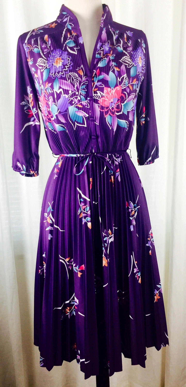 830a29b9 Vintage 70's royal purple multi floral print pleated dress. 1