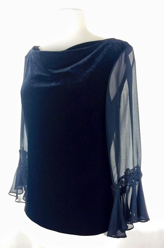 Vintage 90's black velvet sheer ruffle sleeve top