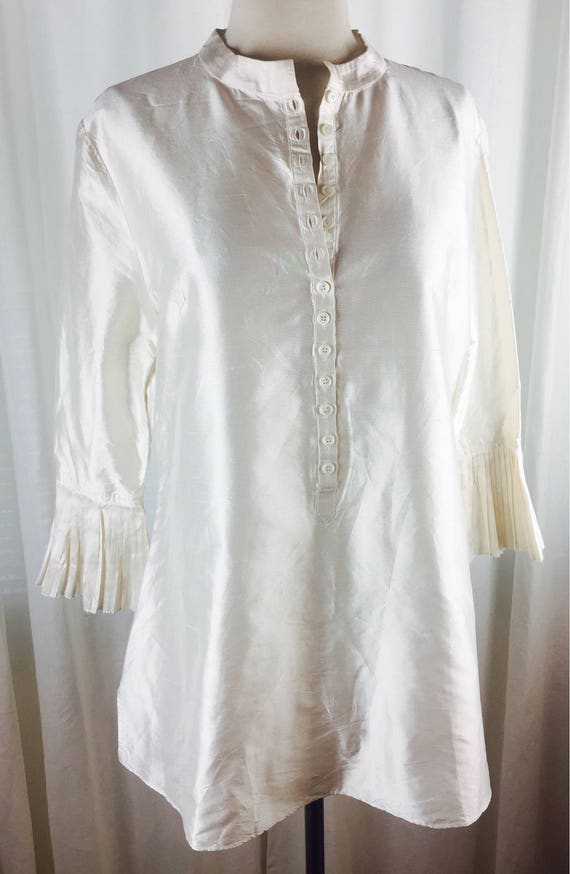 Vintage 90's romantic ivory  tunic blouse with ro… - image 5