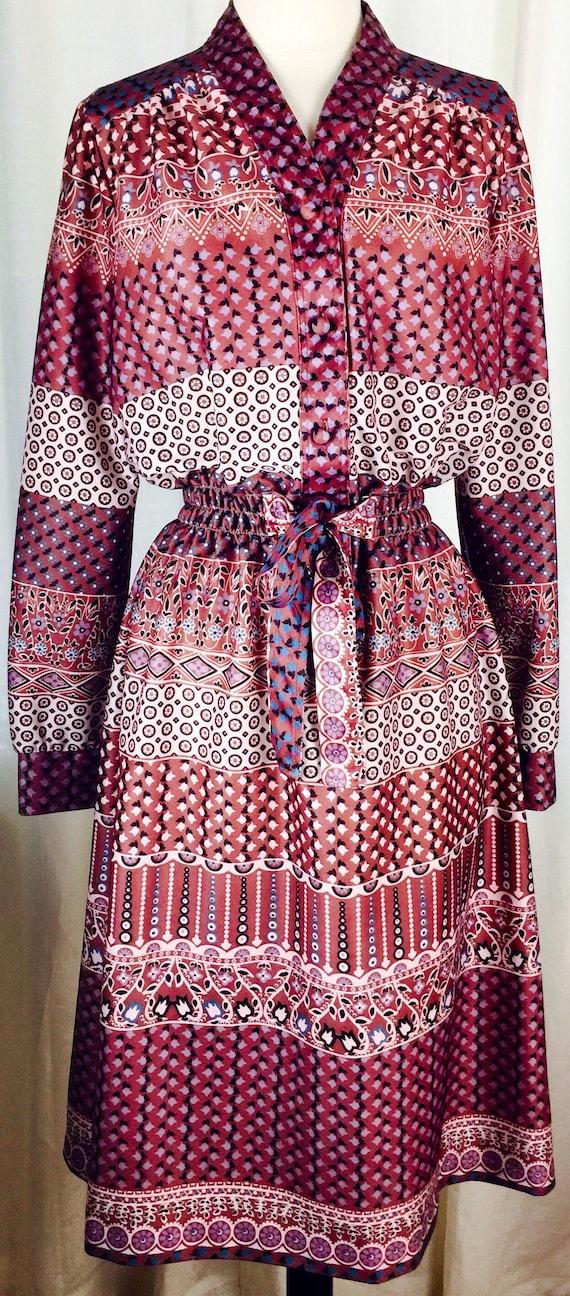 Vintage 70's paisley floral pattern button up bel… - image 5