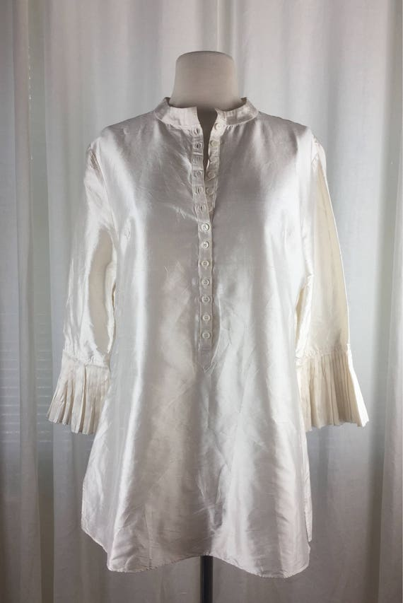 Vintage 90's romantic ivory  tunic blouse with roc