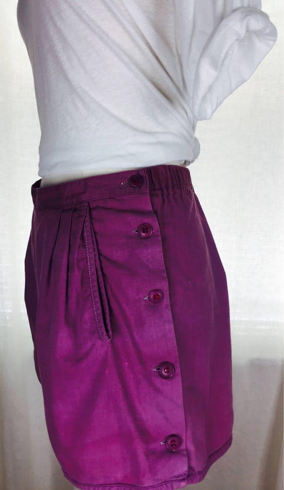 Vintage 70's Indian cotton folk purple button up s