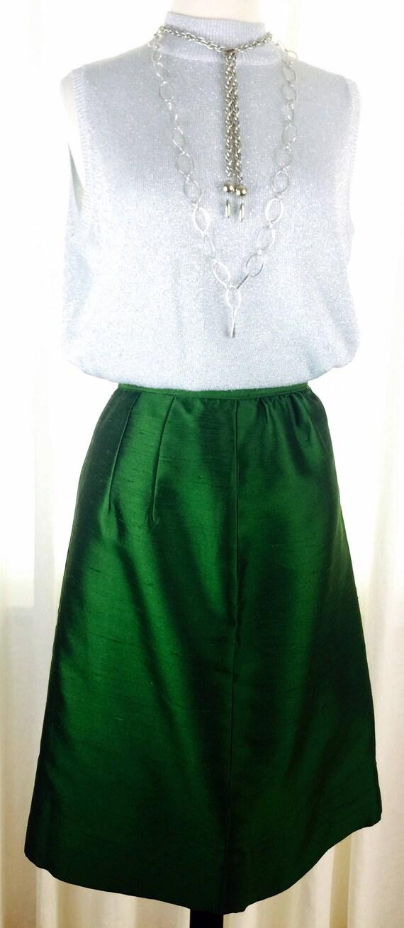 Vintage 60's green silk shantung A line skirt