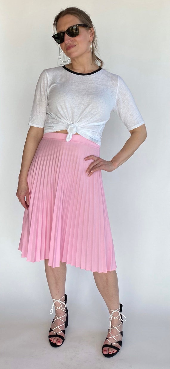 70's pink pleated skirt