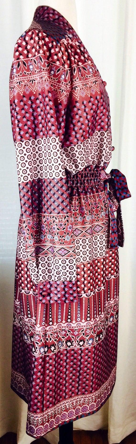Vintage 70's paisley floral pattern button up bel… - image 3