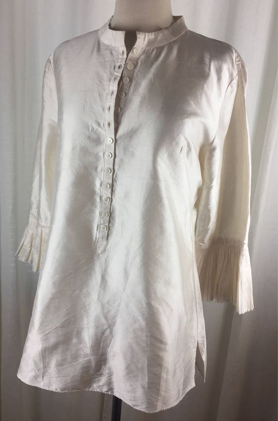 Vintage 90's romantic ivory  tunic blouse with ro… - image 2