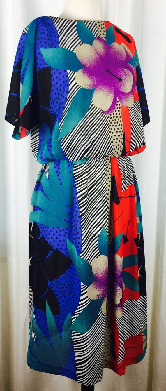 Vintage 80's bright modern abstract geometric flor