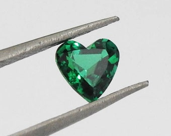 64240d88c 7mm Emerald Heart shape stone, stones for jewelry, Heart cut Chatham  Emerald lab created top quality green