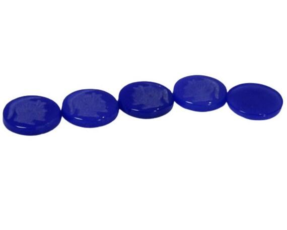 18mm intaglio Blue agate roman warrior soldier 3 Blue agate round coin weight 22.88 carat gemstones Jewelry making gemstone Jewelry