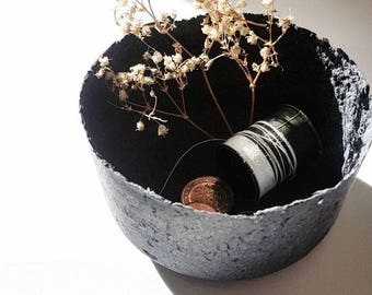 Handmade Recycled Paper Decorative Homeware Small Bowl - Minimal / Eco / Monochrome / Décor / Ring Dish / Handcrafted / Conceptual / Art