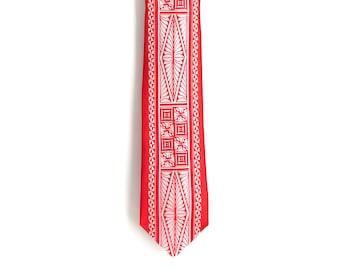 Vela- Red Skinny Polynesian Necktie