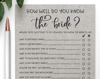 Grey How Well Do You Know the Bride Bridal Shower Game . Who Knows the Bride Best Bridal Shower Game . Bridal Shower Games