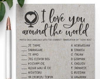 Grey I Love You Around The World Bridal Shower Game. I Love You In Different Languages Bridal Shower Game. Bridal Shower Games .