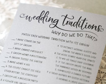 Grey Wedding Traditions Guessing Game Printable . Why Do We Do That . Bridal Shower Trivia Games . Download . Rustic . Bridal Shower Games