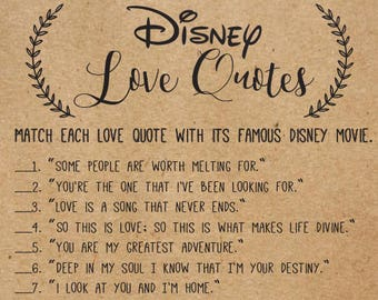48b0de0e693 Disney Love Quotes Bridal Shower Games . Disney Bridal Shower Games . Wedding  Shower Games . Bachelorette Party Night . Rustic . Download