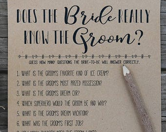 how well does the bride know the groom instant download bridal shower game rustic funny fun printable bridal shower question game