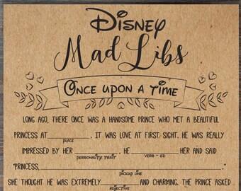 Disney Mad Libs . Bridal Mad Libs Game . Engagement Libs . Mad Libs. Funny Bridal Shower Game . Guest Libs . Unique, Fun Bridal Shower Games
