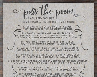pass the poem bridal shower game rustic grey bridal shower game pass the poem gift passing poem bridal shower pass along poem