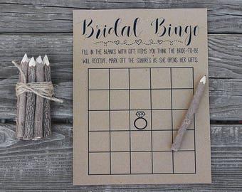 Bridal Bingo - Bridal Shower Games - Wedding Shower Game - Shower Bingo - Popular Shower Games - Rustic, Kraft, Funny, Fun, Country Bridal