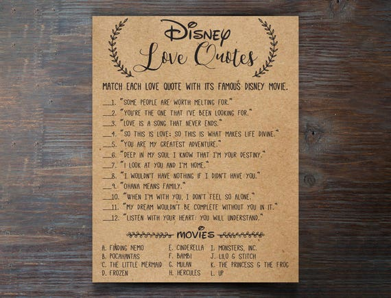 Disney Love Quotes Bridal Shower Games Disney Bridal Shower Games