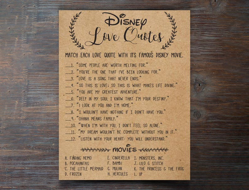 16ef9f968e9 Disney Love Quotes Bridal Shower Games . Disney Bridal Shower