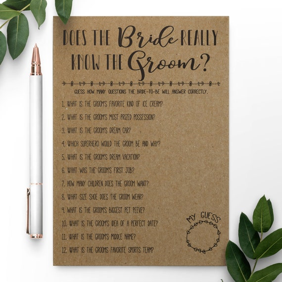 How Well Does The Bride Know The Groom INSTANT DOWNLOAD